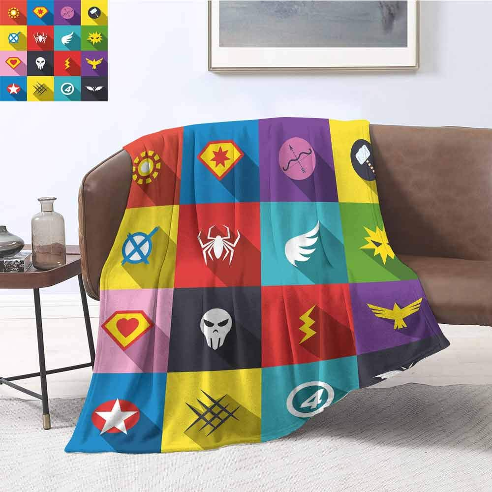 Superhero Commercial Grade Printed Blanket Retro Superhero Badge Patchwork Style Several Logo Signs Comic Humor Artwork Queen King W70 x L90 Inch Multicolor by Luoiaax