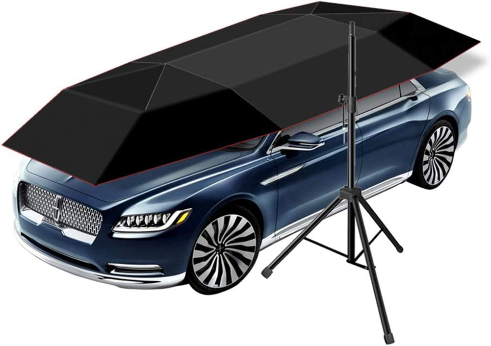 Indigo Movable Carport Canopy for Outdoor Camping Tent Multifunction Portable Auto Protection Car Tent Sunshade Automatic Folding Remote Control Car Umbrella with Removable Charger Rooftop Tent
