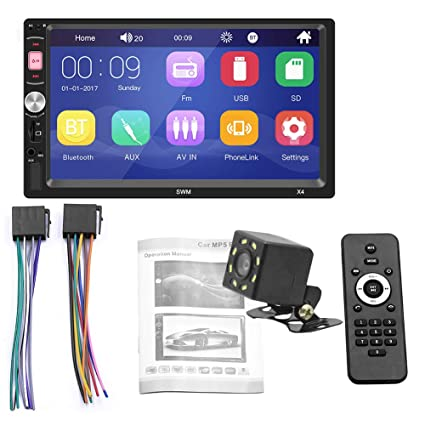 Zqasales 7 inch Double Din Touch Screen Car Stereo Upgrade The Latest Version MP5//4//3 Player FM Radio Video Support Backup Rear-View Camera Mirror Link