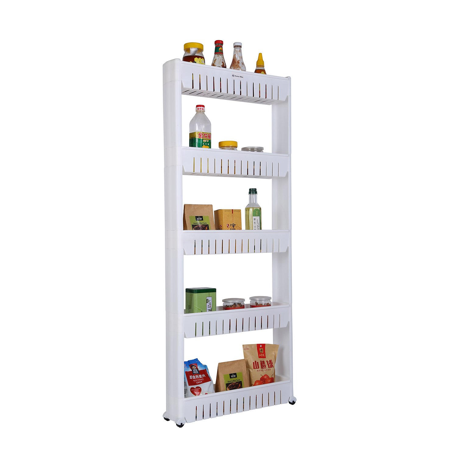 Home-Man Laundry Room Organizer, Mobile Shelving Unit Organizer with 5 Large Storage Baskets, Gap Storage Slim Slide Out Pantry Storage Rack for Narrow Spaces, 5 Tier