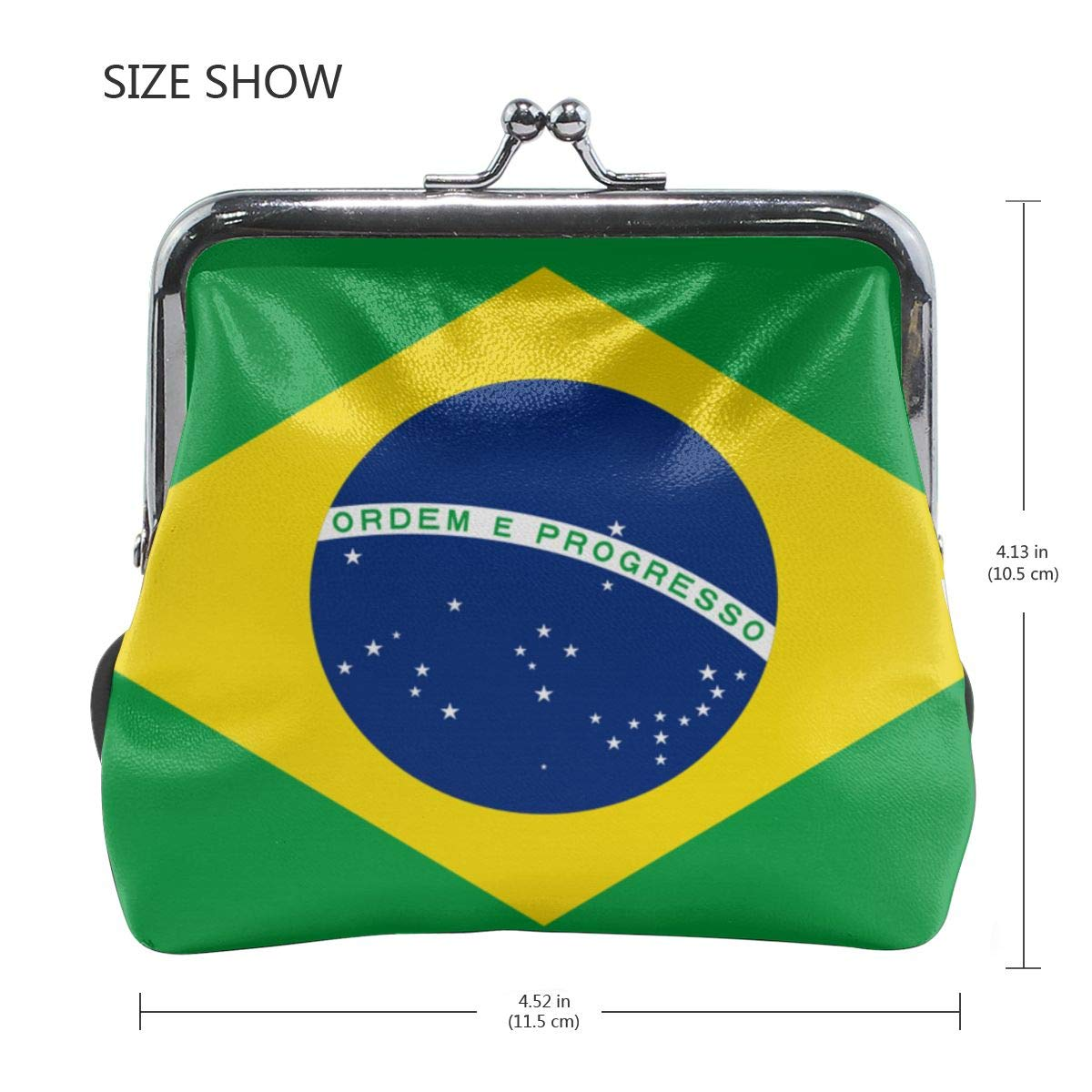 Eunice Jackson Womens Brazil Flag Flat Wallet Style Purse Leather Coin Handbag