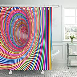 TOMPOP Shower Curtain Vortex Hypnotic Psychedelic Multicolour Circles Tunnel Extreme Closeup 3D Rendering Abstract Arcade Waterproof Polyester Fabric 60 x 72 inches Set with Hooks