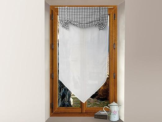 Soleil docre Mini Visillo de algodón 45x90 cm Vichy Gris: Amazon.es: Hogar