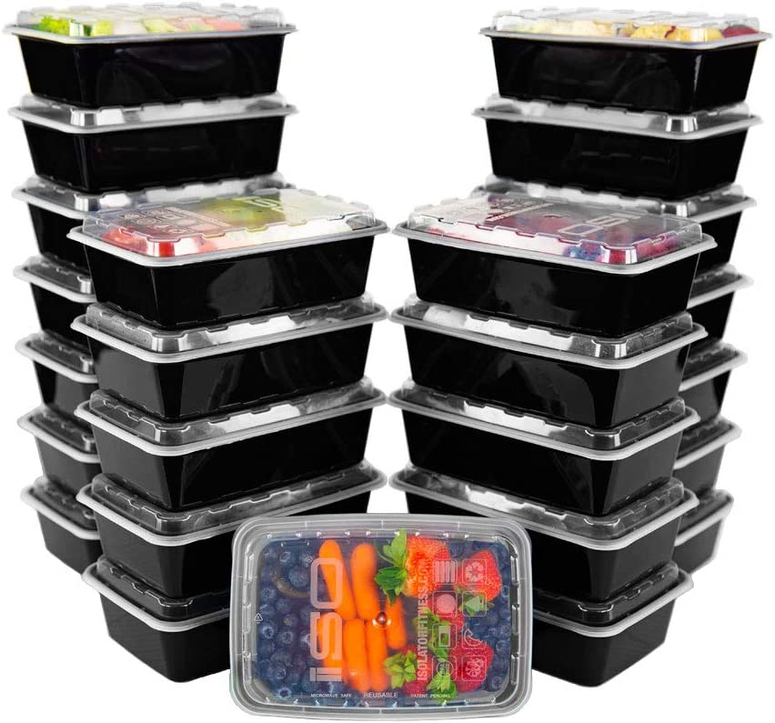 ISO Meal Prep Containers with Lids Certified BPA-Free Stackable Reusable Microwave/Dishwasher/Freezer Safe 38 oz, 25 Count, BLACK