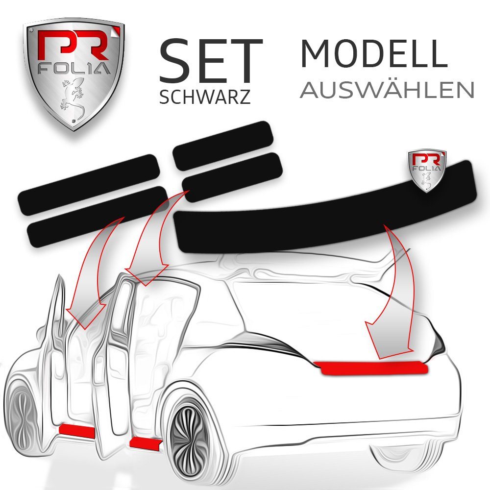 PR-Folia SET Ladekantenschutz + alle Einstiegsleisten in SCHWARZ, Lack-Schutz-Folie, Ladekante + Tü r-Einstiege passend fü r gewä hltes Modell