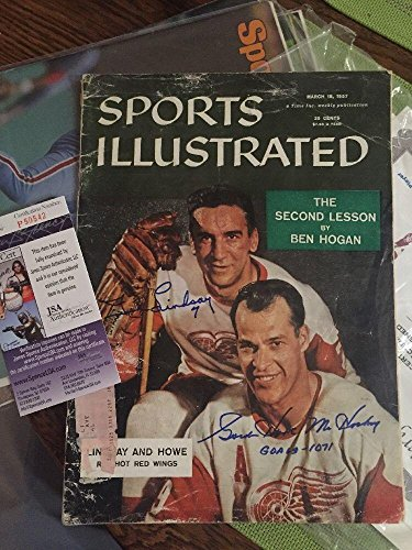 GORDIE HOWE & TED LINDSAY SIGNED Autograph 1957 SPORTS ILLUSTRATED Red Wings - JSA Certified - Autographed NHL Magazines