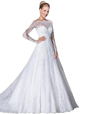 VERNASSA A-line Bridal Dresses Long Sleeves Off The Shoulder Lace ...