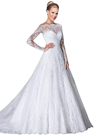VERNASSA A-line Bridal Dresses Long Sleeves Off The Shoulder Lace Wedding  Dresses at Amazon Women s Clothing store  0b11eab3c