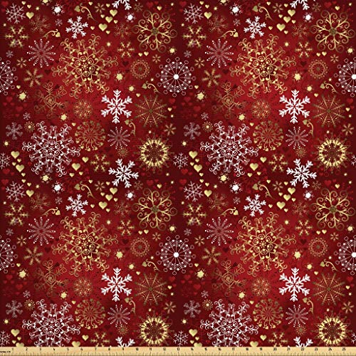 Ambesonne Winter Fabric by The Yard, Old Fashioned Christmas Hearts and Swirls Vintage Festive Composition, Decorative Fabric for Upholstery and Home Accents, 2 Yards, Vermilion Yellow White