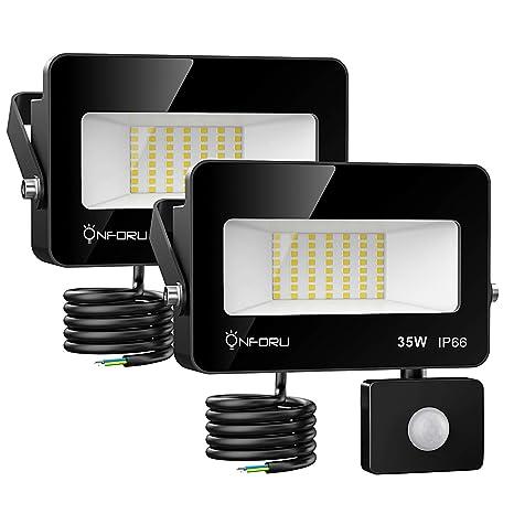 Onforu 2× 35W Foco Exterior LED, 3000LM Proyector Foco LED con Sensor de Movimiento, Impermeable IP66 Iluminación de Seguridad con Detector, Igual a ...