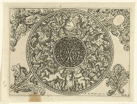 Classic Art Poster - Edge of circular plate with leafy tendrils, masks and Cherubim, Anthony Winter, 1696 18.5