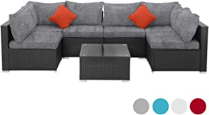 SUNVIVI OUTDOOR 7 Piece Patio All Weather PE Wicker Furniture Set, Outdoor Sectional Conversation Sofa Set with Glass Table, Removable Cushions (Black-Grey)
