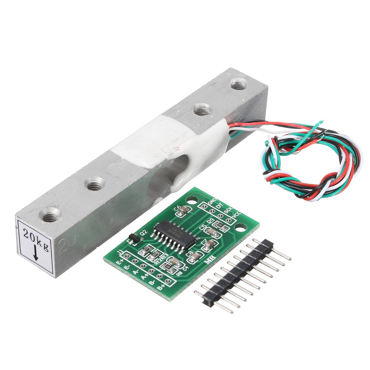 HX711 Module + 20kg Aluminum Alloy Scale Weighing Sensor Load Cell Kit For Arduino - Arduino Compatible SCM & DIY Kits - Module Board