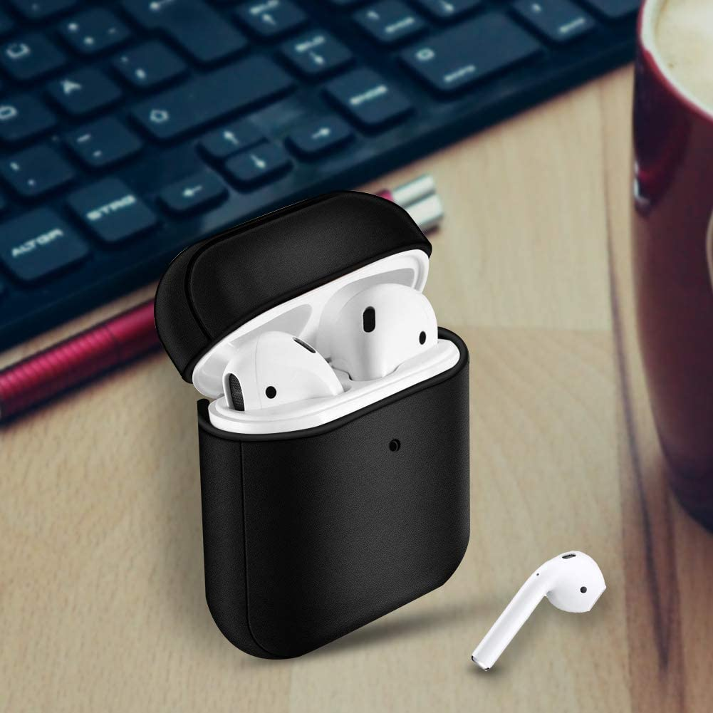 AirPods Leather Case,Portable Genuine Leather Protective Cover Case for Apple AirPods 1 Case Black Front LED Visible Airpods 2 Case (Support Wireless Charging)