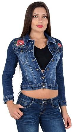 ESRA Damen Jeansjacke Damen Jeans Jacke mit Blumen Stickerei Lang Große  Größen bis Übergröße M03 f629c11ea7