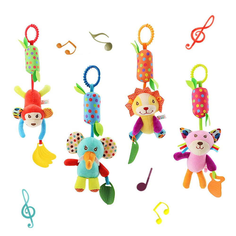 Baby Soft Hanging Wind Chime Rattle Toy - Crinkle Squeaky Sensory Learning Animal Plush Stroller Toy for Infant Newborn Toddler Car Seat Bed Crib Travel Activity with Teether for Boys Girls(4 Pack)