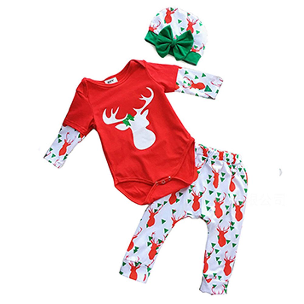 DREAMOWL 3Pcs Unisex-Baby Christmas Romper Outfit Antlers Pants Hat