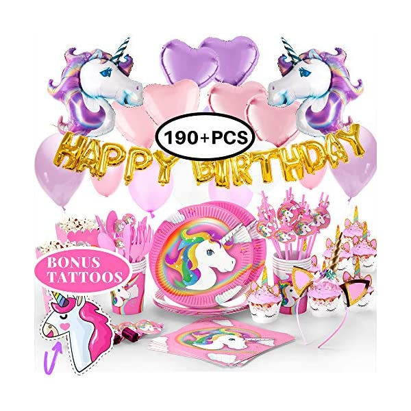 Unicorn Party Supplies- Cake Topper + Cupcake Wrappers | Headband | Party Plates Set for Kids | 32 Balloons | Tattoos… 3