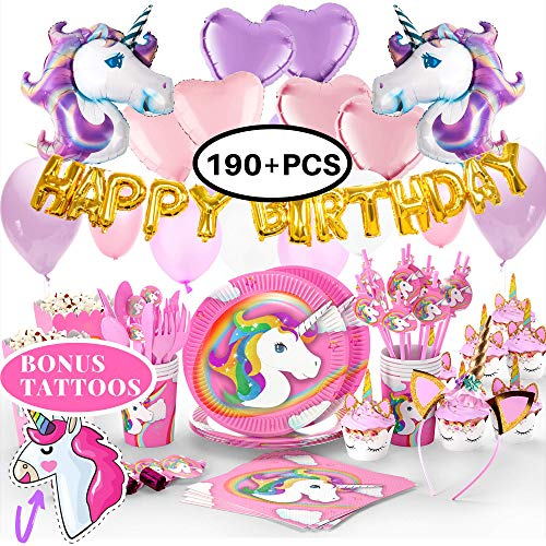 Unicorn Birthday Party Supplies & Decorations - Unicorn Horns Headband | Party Plates Set for Kids | Balloons | Cupcake Wrappers | Tattoos | Happy Birthday Banner | Unicornio Decoraciones Favors