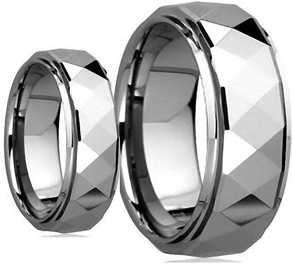 Men's & Women's 8MM/6MM Polished Facet Cut Shiny Tungsten Carbide Wedding Band Ring Set
