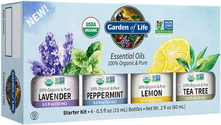 Garden of Life Essential Oils Starter Pack (Lavender, Peppermint, Lemon, Tea Tree) 2 fl oz Liquid (60 mL) - Set of 4-0.5 fl oz Bottles, 100% USDA Organic & Pure, Non-GMO, for Diffuser, Aromatherapy