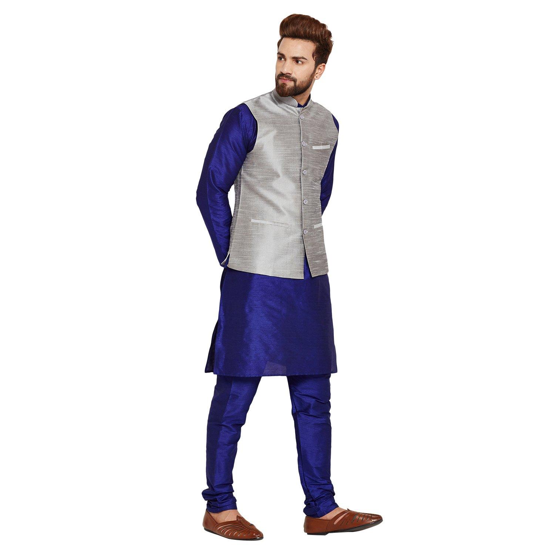 ebe62c98c Sojanya (Since 1958), Men's Blue Silk Kurta Pyjama and Grey Nehru Jacket  Set, Size: XL