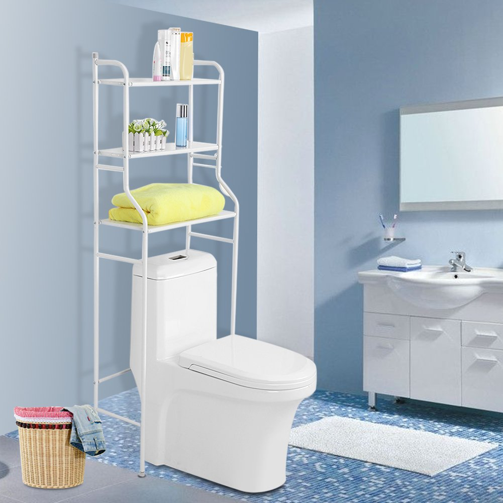 Ejoyous Over The Toilet Shelf 3 Tier Bathroom Free Standing Metal Frame Storage Rack Space Saver Organizer Waterproof and Rustproof with 2 Hooks No Drill or Damage to Wall Black