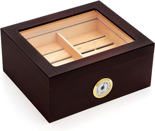 Kendal-Cigar-Desktop-Humidor,-Glass-Top,-Brass-Ring-Glass-Hygrometer