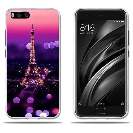 FUBAODA Funda Xiaomi Mi6 Carcasa de Silicona Transparente TPU, Escena Nocturna de la Torre Eiffel, Flexible Amortigua los Golpes, Funda Protectora ...