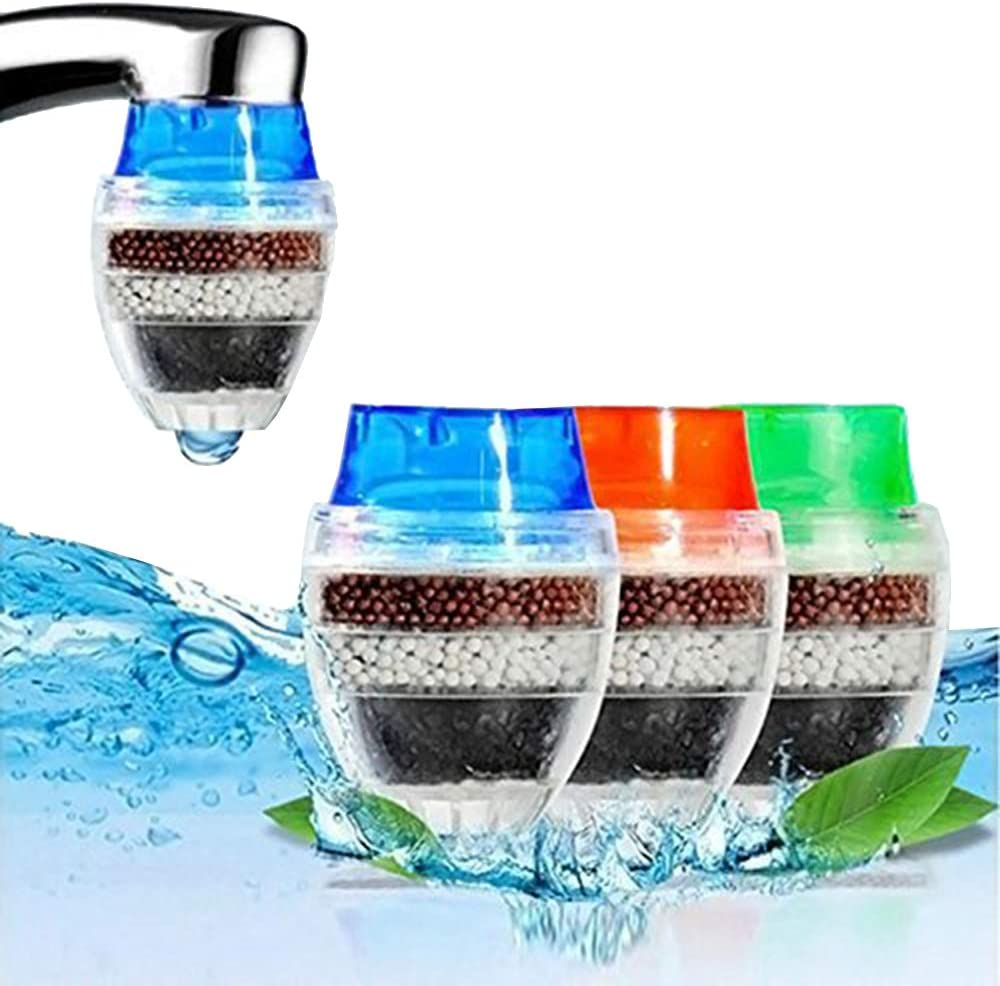 Faucet Water Filter Coconut Carbon Home Kitchen Faucet Tap Water Clean Purifier Filter Cartridge 16-19MM (Random Color) Pack of 2