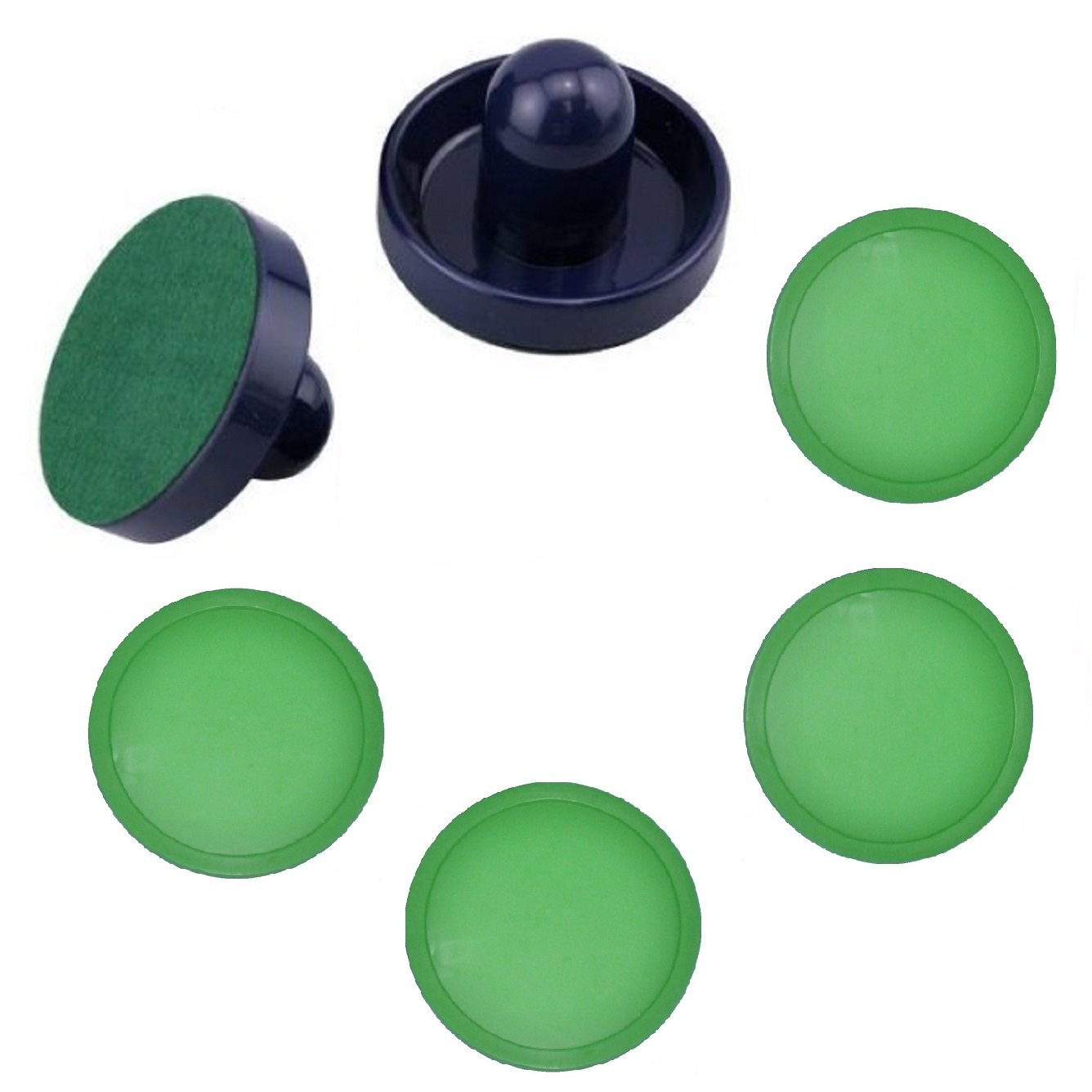 2 Blue Table Hockey Mallets + 4 Lg Green Air Pucks by PRC