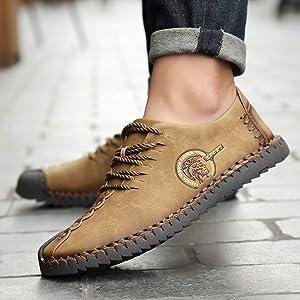 Zapatos de Cordones Derby para Hombre, Zapatos de Cuero Casual de los Hombres Moccasins de conducción Hombre Oxford Walking Vestido Zapatos