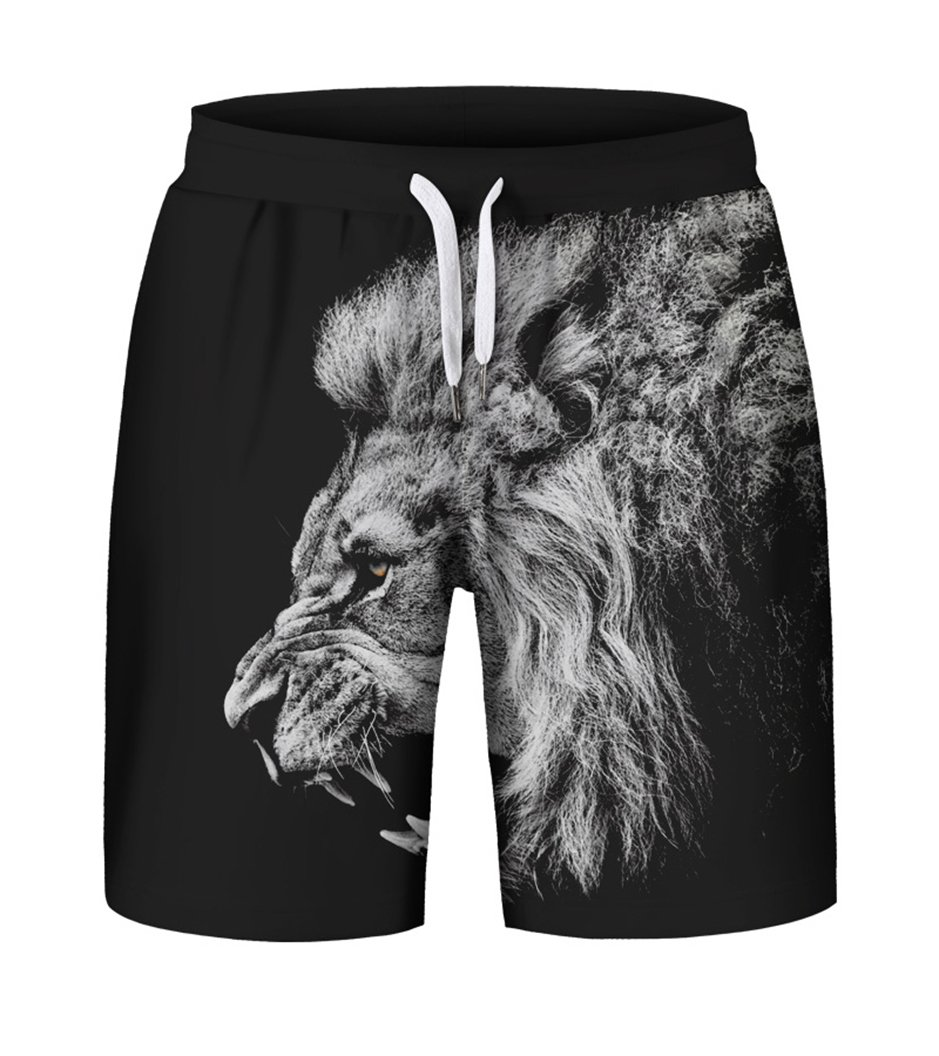 Prettyard Men Hipster Animal Lion Big Side Face Print Black HarajukuShorts Pant PrettyardFashion
