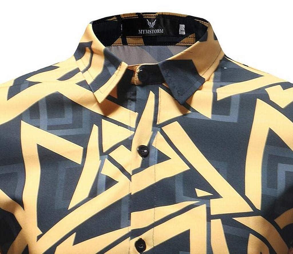 XiaoTianXinMen XTX Mens Long Sleeve Regular Fit Print Casual Lapel Neck Button Down Dress Shirt