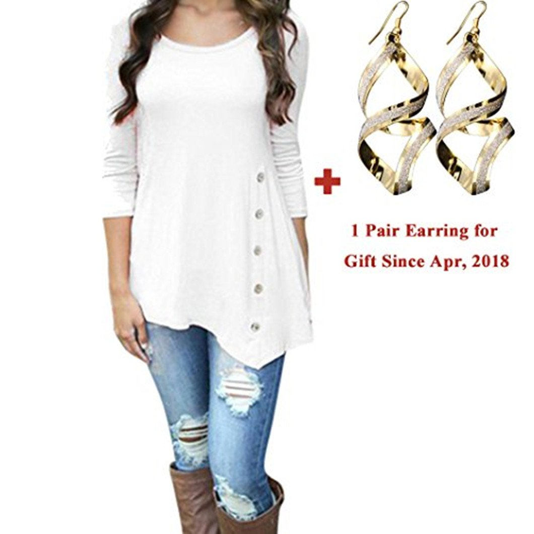 Elogoog Clearance! Womens Loose Blouse 3/4 Sleeve Irregular Tunic Tops Plus Size Button Decor (L, White)