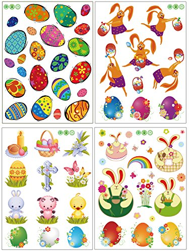 [69 pcs Easter Window Clings Decorations--Bunny Rabbits Egg --Party Ornaments (4 Sheets)] (Bunny Window)