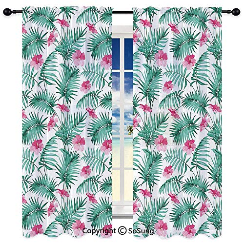 Semi Sheer Curtains for Bedroom Living Room Set of 2 Panels,Tropical Ferns with Flowers Exotic Hawaii Floral Arrangement Blossoming Nature Decorative 52