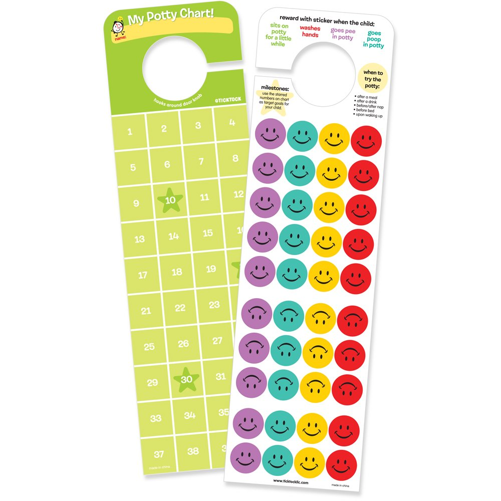 potty time stickers and chart hooks onto door knob