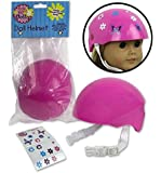 Doll Bike Helmet - Pink Bike Helmet with Easy Strap and Decorate Yourself Decals - Fits American Gir
