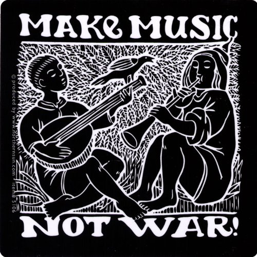 Make Music, Not War - Peace / Anti-War Small Bumper Sticker / Decal (4