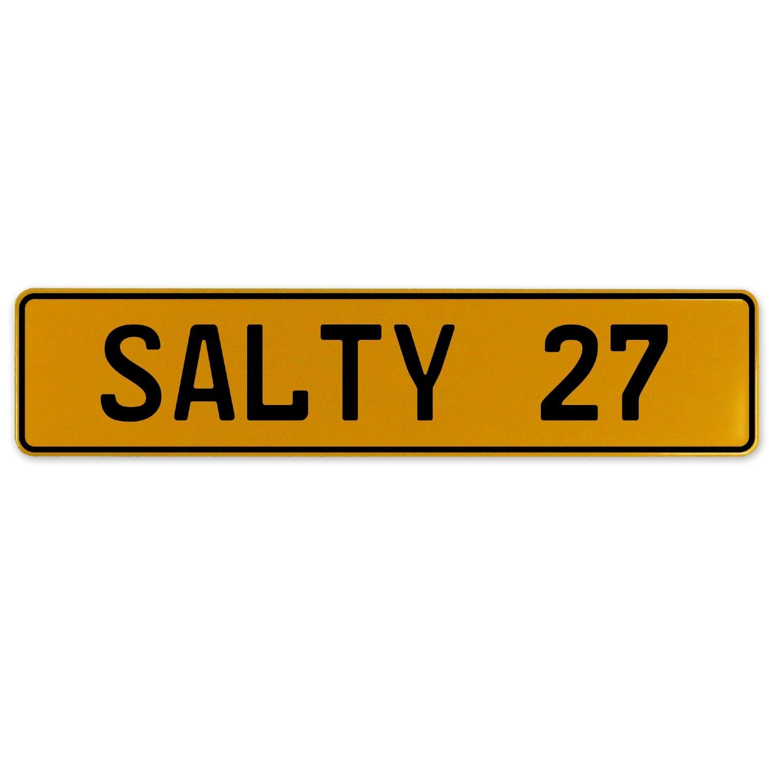 Vintage Parts 561753 Salty 27 Yellow Stamped Aluminum European Plate