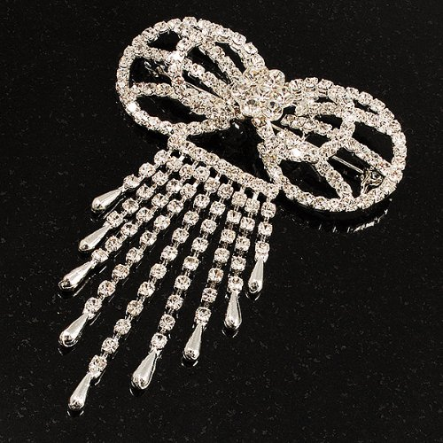 Avalaya Enchanting Diamante Bow Charm Brooch Silver Tone