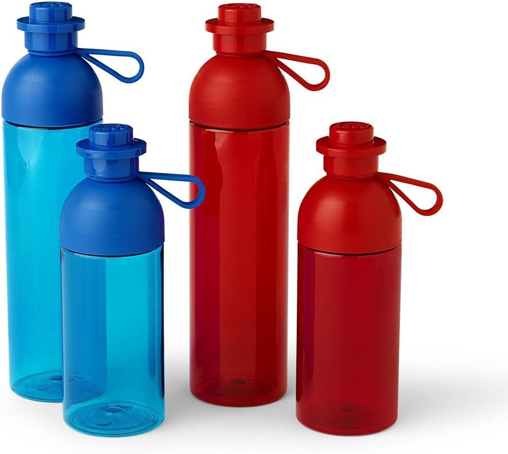7 x 7 x 27.8 cm Transparent Red roja LEGO 4043 Apta para Hielo 740 ml Botella de Agua