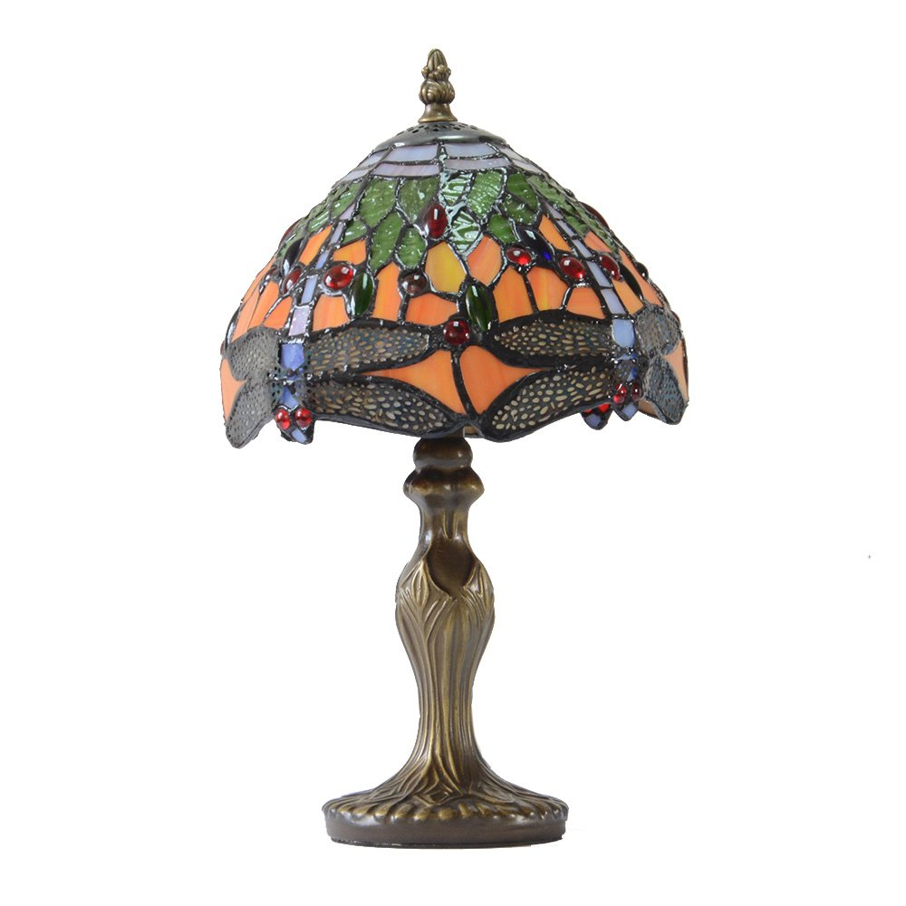 Stained Glass Dragonfly Table Lamp Decorative Desk Light