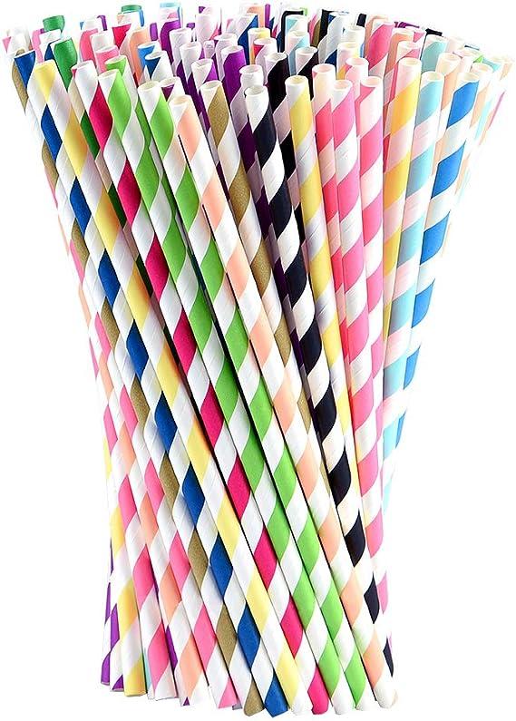 C/él/ébration et F/ête Mariage No/ël MELLIEX 100 Pi/èces Pailles en Papier Jetable Biodegradables Pailles en Papier pour Anniversaire Ondes
