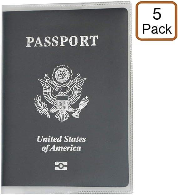 alait (5 unidades) plástico para pasaporte – pasaporte pantalla – PVC para pasaporte – Estados Unidos pasaporte pantalla – Tarjeta de Identificación Protector caso (transparente): Amazon.es: Oficina y papelería