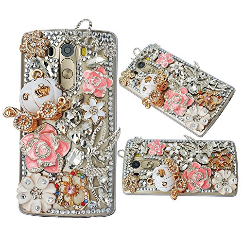 Spritech(TM Bling Phone Case for LG G3 Mini,3D Handmade Silver Crystal Flower Angel Carriage Pattern Accessary Design Clear Cellphone Cover