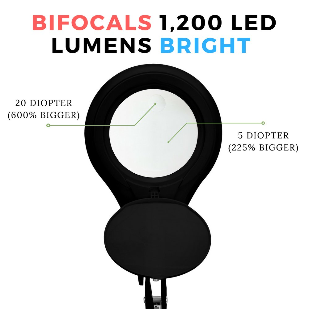 [New Model] Neatfi Bifocals 1,200 Lumens Super LED Magnifying Lamp with Clamp | 5 Diopter with 20 Diopter | Dimmable | 60PCS SMD LED | 5'' Diameter Lens | Adjustable Arm Utility Clamp (Black) by Neatfi (Image #2)