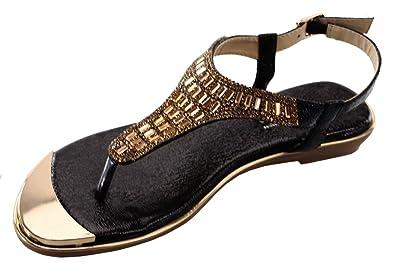53173ab0b DBDK Women s Metallic Beaded Rhinestone Ankle Strappy Thong Wedge Sandal  (5.5 B(M)