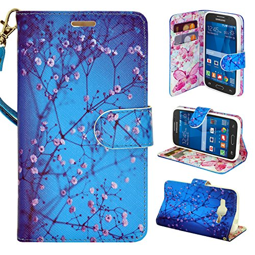 Samsung Galaxy Core Prime G360 Case - Customerfirst, Credit Card Wallet Style Case Cover For Samsung Galaxy Core Prime G360 With Wrist Strap (Blossom Blue)